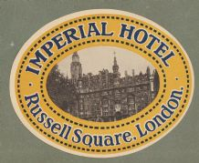 Collectible Hotel luggage label England Imperial London #645